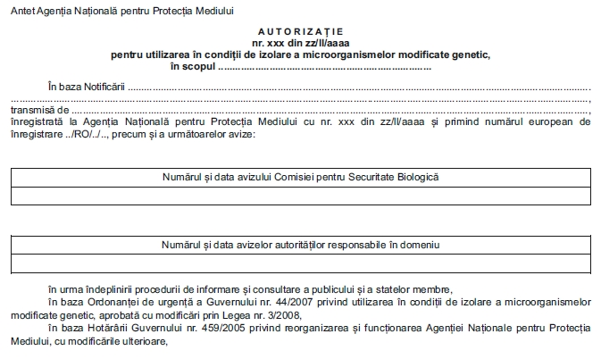 Model Autorizatie pentru utilizarea in conditii de izolare a microorganismelor modificate genetic
